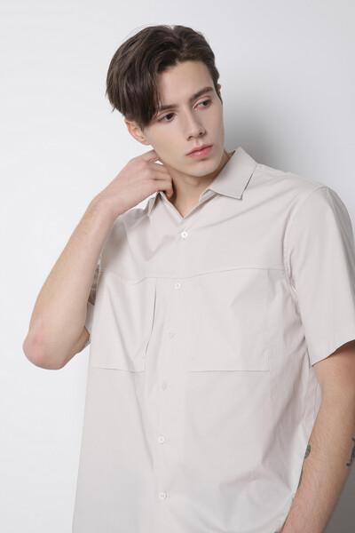 하프 슬리브 오픈카라 셔츠