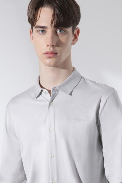 실크 블렌드 루버 로고 셔츠