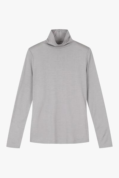 파인 실크 울 터틀넥 티셔츠