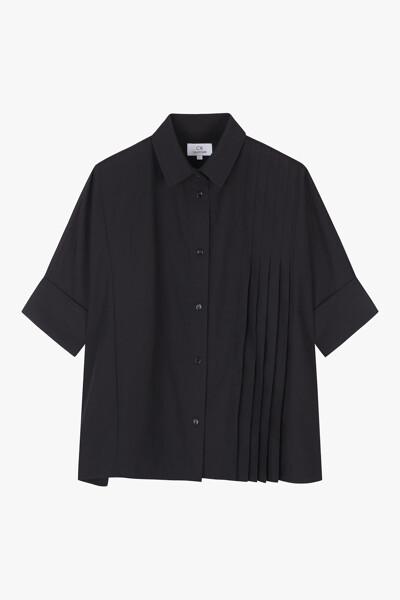 플리츠 폴리 코튼 셔츠