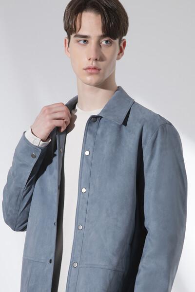 페이크 스웨이드 셔츠 자켓