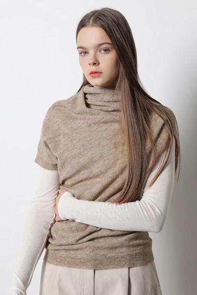 숄 넥 스웨터 탑