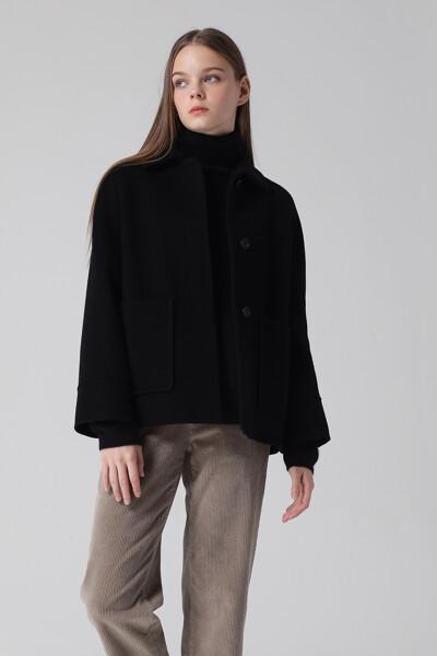 [여성] 캐시미어혼방 포켓 미디 자켓