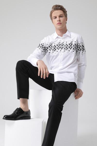 [남성] 코튼 오버핏 그래픽 셔츠