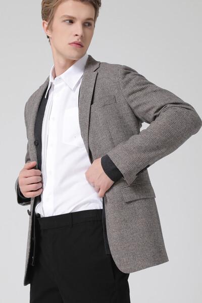 [남성] 울혼방 스탠다드핏 팬시체크 자켓