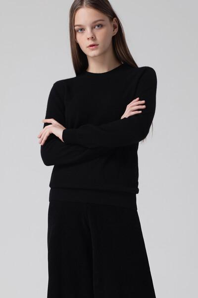 [여성] 캐시미어 베이직 크루넥 니트 탑