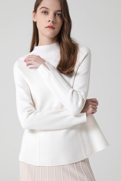 [여성] 울혼방 베이직 긴소매 니트 탑