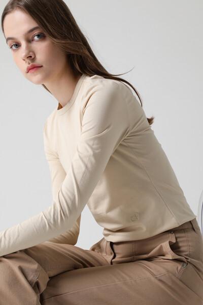 [여성] 면혼방 솔리드 크루넥 티셔츠