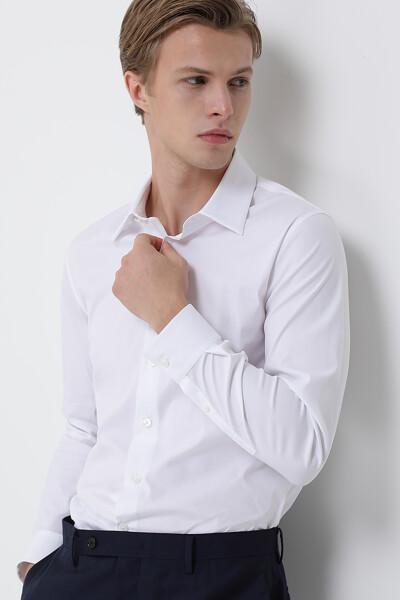 [남성] 면혼방 레굴러핏 솔리드 스티치드 드레스 셔츠
