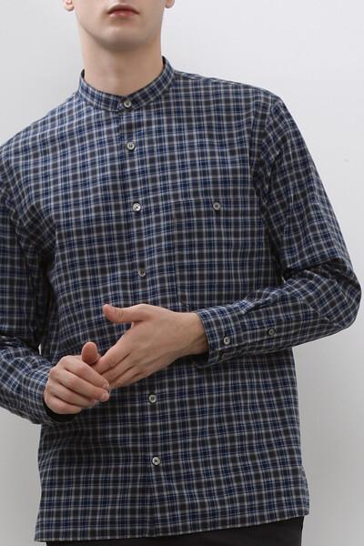 남성 코튼 체크 헨리넥 셔츠