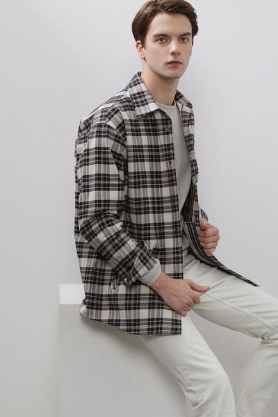 남성 코튼 핀 체크 긴소매 셔츠
