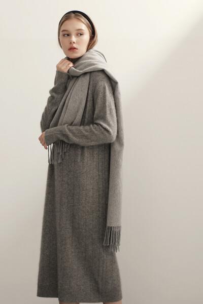 여성 라쿤혼방 스트라이프 긴소매 스웨터 원피스