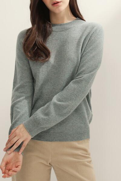 여성 캐시미어 베이직 크루넥 스웨터
