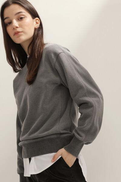여성 코튼 스티치 크루넥 맨투맨 티셔츠