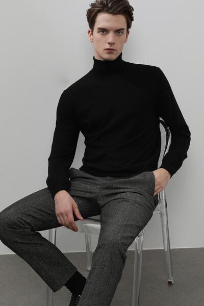 남성 울 솔리드 터틀넥 스웨터