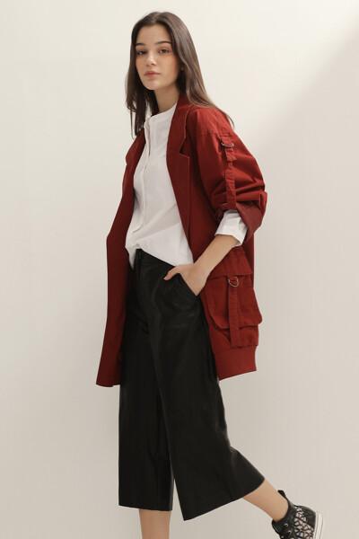 여성 루즈핏 미디 자켓
