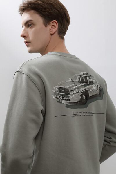 [남성] 면혼방 프린트 크루넥 맨투맨 티셔츠