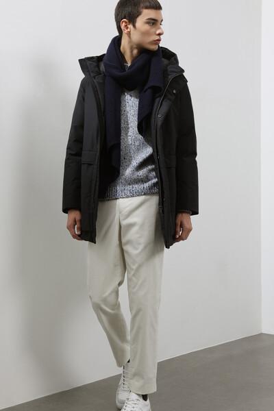 [남성] 포켓 모던 후드 다운 코트