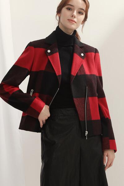 [여성] 버팔로 브러쉬드 체크 코팅 자켓