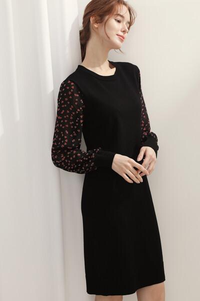 [여성] 쉬폰 프린트 슬리브 원피스