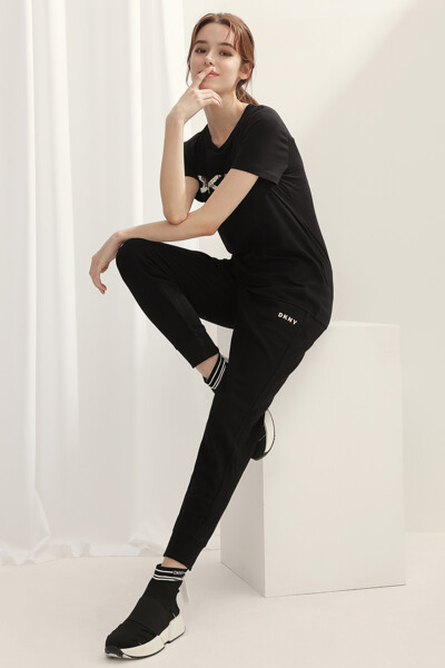 [여성] 면혼방 일자핏 미니 로고 조거 스웨트팬츠
