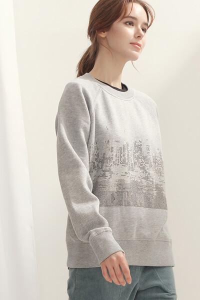 [여성] 면혼방 스탠다드핏 시티 스웨트셔츠