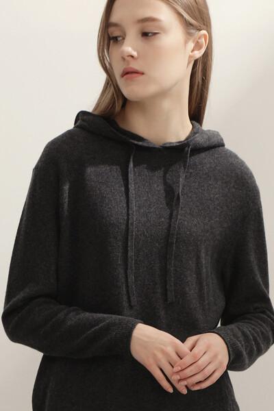 [여성] 캐시미어혼방 레귤러핏 베이직 후드 탑