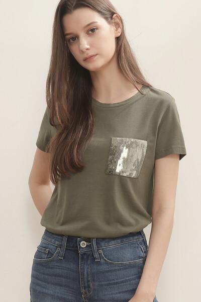 스팽글 포켓 반팔 티셔츠