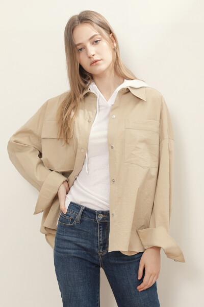 코튼 블렌드 셔츠 자켓