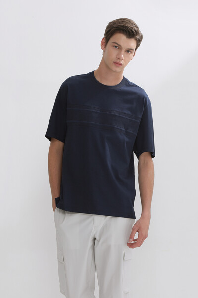 니트 테이프 숏 슬리브 티셔츠