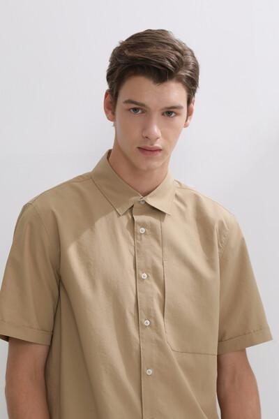 숏 슬리브 우븐 셔츠