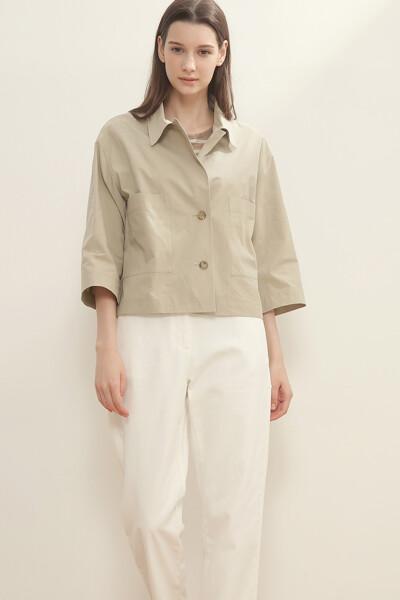 코튼 숏 셔츠 자켓