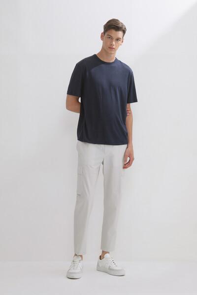 린넨블렌드 숏 슬리브 베이직 티셔츠
