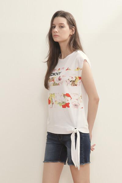 플로럴 프린트 슬리브리스 티셔츠