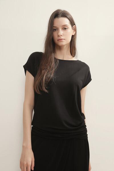 솔리드 캡 슬리브 티셔츠