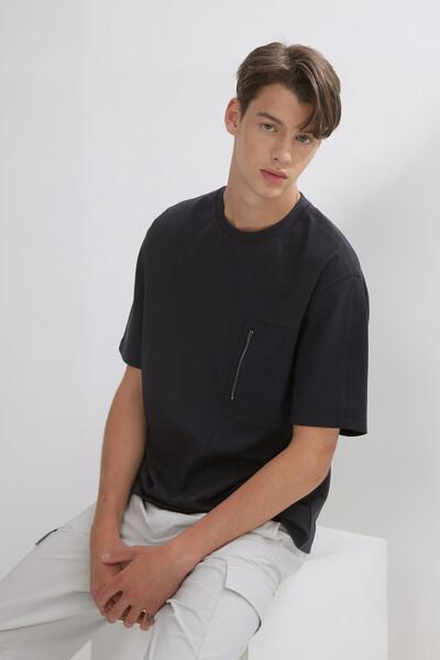 숏 슬리브 집 포켓 티셔츠