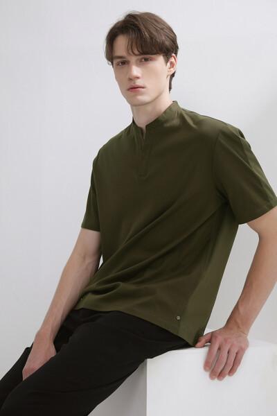 우븐 믹스 헨리넥 숏 슬리브 티셔츠
