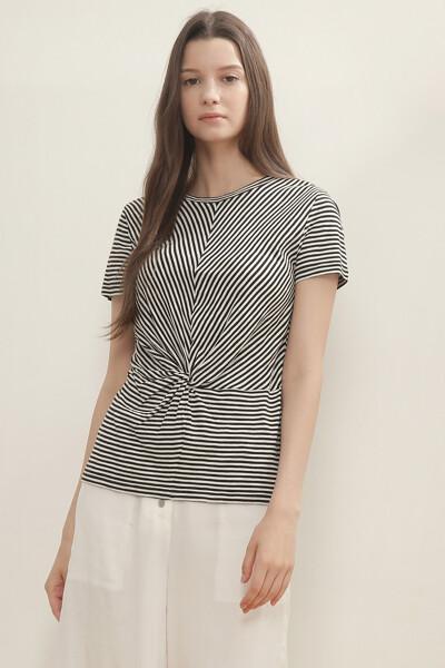 스트라이프 트위스트 반팔 티셔츠