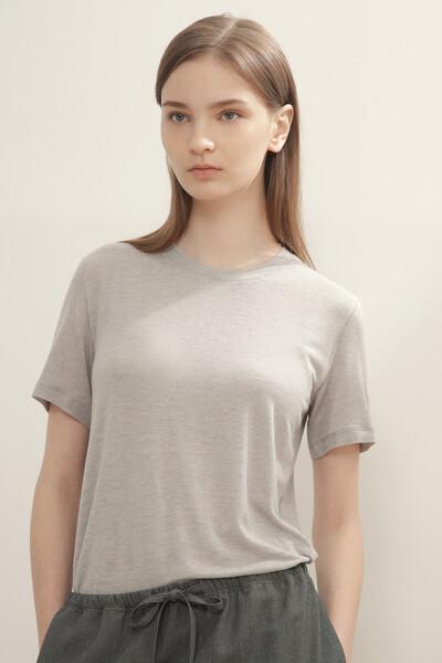 실크 혼방 하프 슬리브 티셔츠