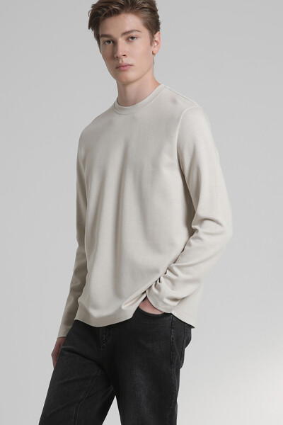 텍스처 크루넥 티셔츠