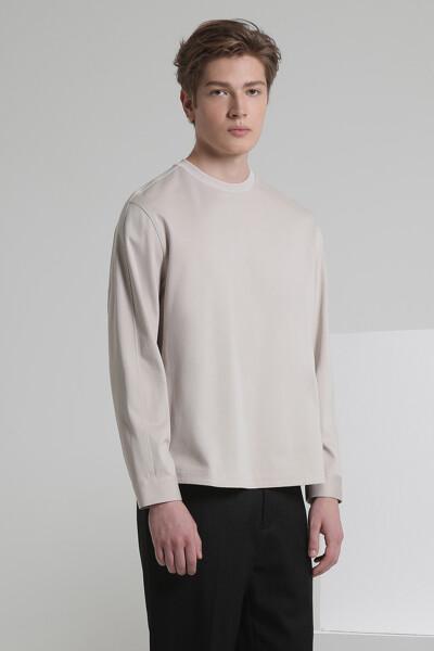 우븐 포인트 롱 슬리브 티셔츠