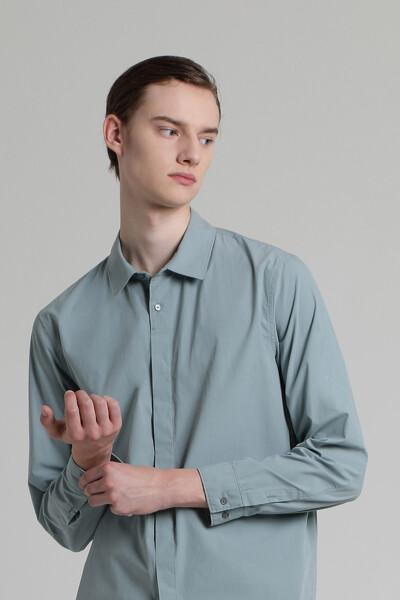 투 버튼 히든 셔츠