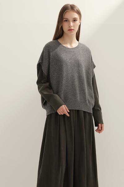 [여성] 캐시미어혼방 투인원 솔리드 믹스 드레스