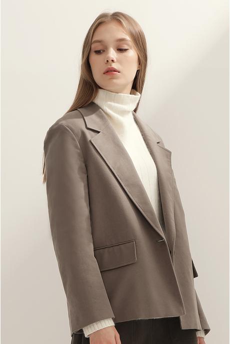 [여성] 코튼 브러시트 레귤러핏 솔리드 자켓