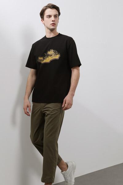 [남성] 면혼방 카 프린트 반소매 티셔츠