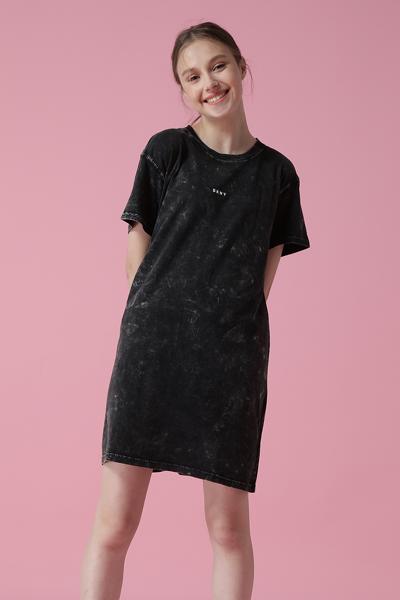 [여성] 코튼 로고 워시드 반소매 티셔츠 원피스