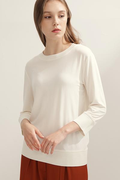 [여성] 솔리드 3/4슬리브 스웻 티셔츠