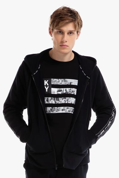 [남성] 로고 테이핑 레귤러 후드 집업 자켓