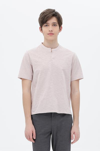 코튼 오픈넥 반소매 셔츠