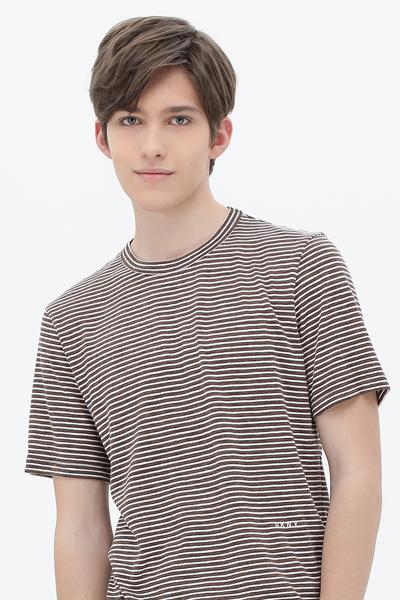 폴리혼방 스트라이프 반소매 티셔츠